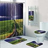 Printsonne 5-piece Bathroom Set-Includes Shower Curtain Liner, about to Appear with Flash on the Field Solar Illumination Energy Green BlueDecorate the bathroom(Large size)