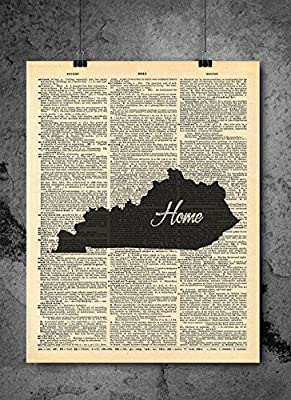 Kentucky State Vintage Map Vintage Dictionary Print 8x10 inch Home Vintage Art Abstract Prints Wall Art for Home Decor Wall Decorations For Living Room Bedroom Office Ready-to-Frame Home