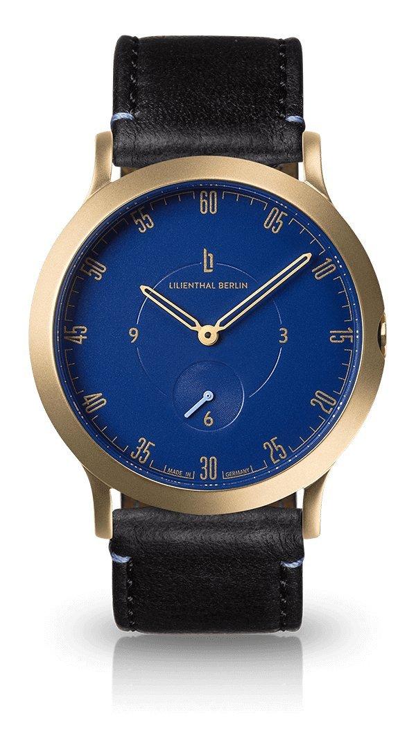 Lilienthal Berlin -Made in Germany- ベルリンの新しい時計モデル L1 ステンレススチール ケース B01NBA4DH7 サイズ: 37.5 mm|ケース: ゴールド/ ダイアル: ブルー/ ストラップ: ブラック ケース: ゴールド/ ダイアル: ブルー/ ストラップ: ブラック サイズ: 37.5 mm