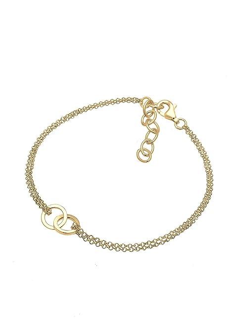 Elli Damen Armband Gliederarmband Kreise Geo Minimal 925