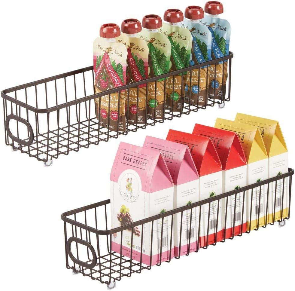 mDesign Metal Kitchen Pantry Food Storage Organizer Bin Basket - Modern Farmhouse Decor Wire Grid Design - Organization for Cabinets, Shelves, Countertops - X Long Container, 2 Pack - Bronze