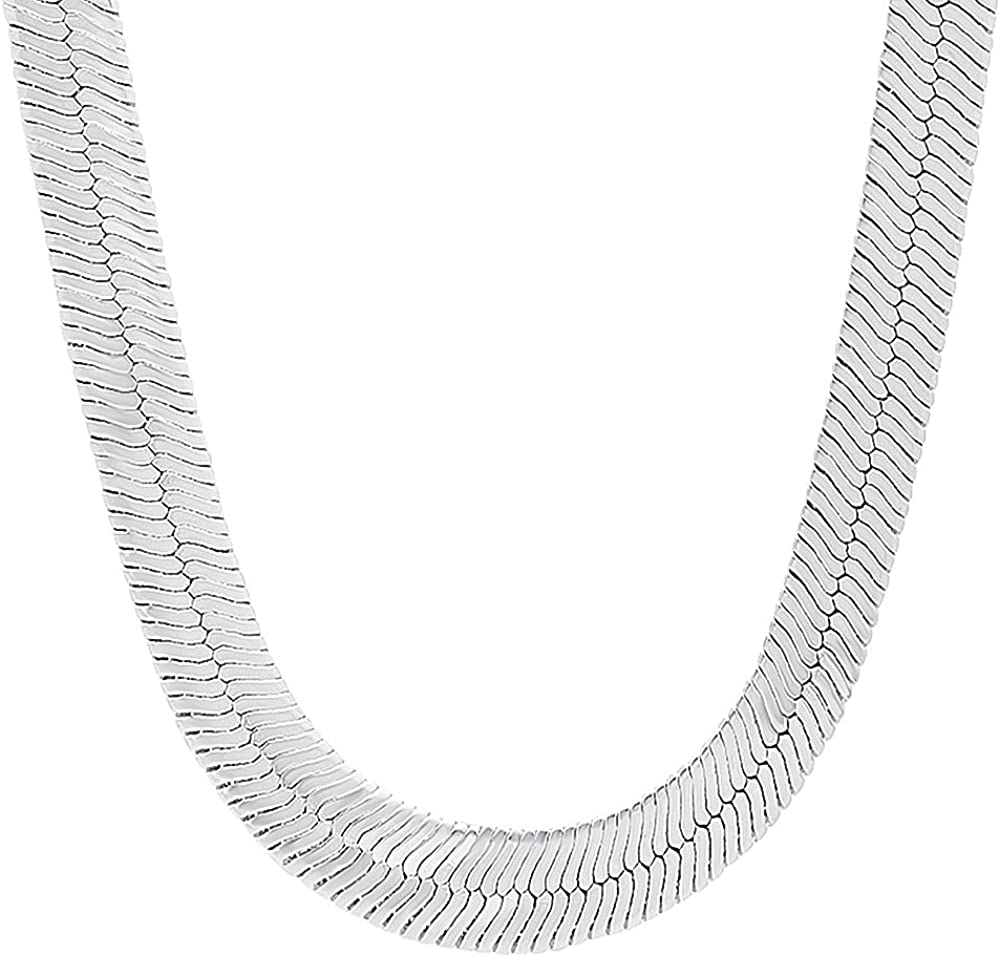 The Bling Factory 10.8mm 0.25 mils (6 microns) Rhodium Plated Brass Herringbone Chain Necklace, 8'-36 + Jewelry Cloth & Pouch