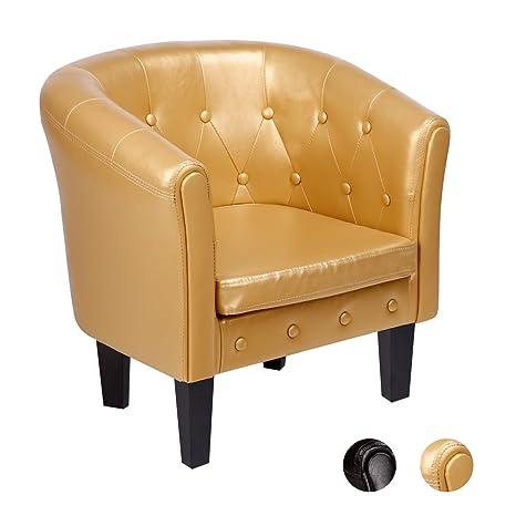 CCLIFE Poltrona cuoio Chesterfield poltrona vittoriana poltrona vintage in pelle, due colori:marrone,oro, Colore:Oro