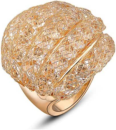 Mytys 18k Rose Gold Plated Mesh with Cubic Zirconia Design Fashion Cocktail Rings