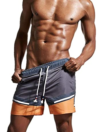 20cc397b313 SSYUNO Men s Beach Swimming Trunks Quick Dry Boxer Brief Swimsuit Swim  Underwear Boardshorts with Pocket Black