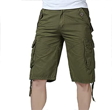 AKARMY Mens Loose Fit Twill Cotton Outdoor Cargo Shorts with Multi Pocket