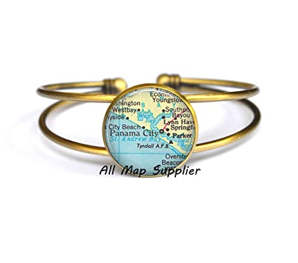 Map Of Panama City Beach Florida.Amazon Com Allmapsupplier Charming Bracelet Panama City Florida