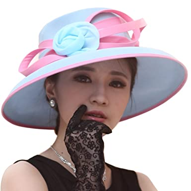 e55643442dd1e9 June's Young Hats Women Hats Formal Hats Summer Hat Flower (Light  Blue/Pink) at Amazon Women's Clothing store: