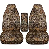 1998 to 2003 Ford Ranger Camo Truck Bucket Seat Covers with Center Armrest Cover: Wetland Camo (16 Prints Available)