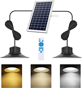 Solar Lights Outdoor, NIORSUN LED Solar Pendant Lights 5000K|4000K|3000K| Dimmable Lighting with Remote Control, 2x16.4ft Cable IP65 Waterproof for Indoor, Garden, Patio, Garage, Camp(2 Pack)