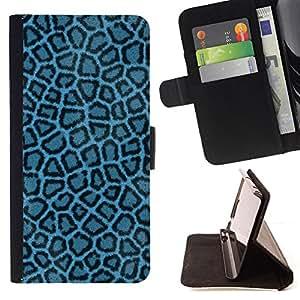 BullDog Case - FOR/Apple Iphone 4 / 4S / - / blue leopard pattern fabric textile wallpaper /- Monedero de cuero de la PU Llevar cubierta de la caja con el ID Credit Card Slots Flip funda de cuer