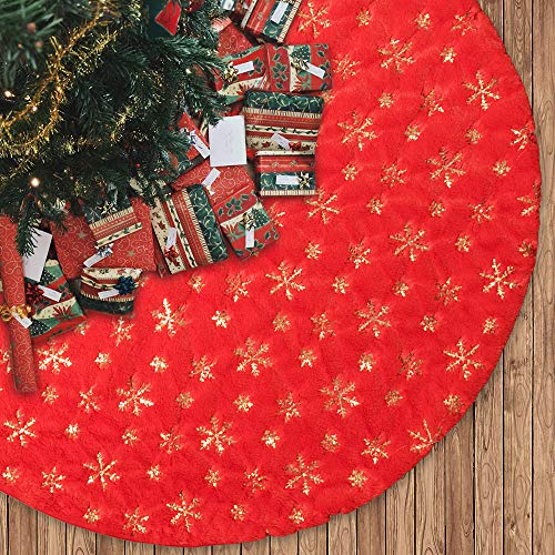 MACTING 48 Inches Plush Luxury Faux Fur Tree Skirt with Sequined Mix-Color Snowflakes, Christmas Tree Mats for Xmas Tree Holiday Party Decorations (Red Gold Snowflakes, 48