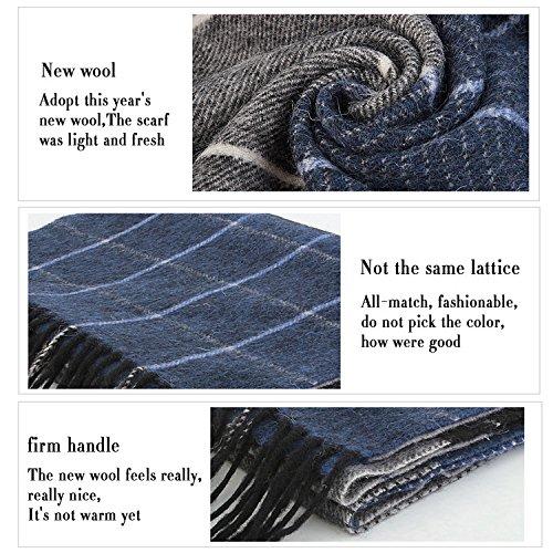 Erigaray 100% Wool Mens Scarf Plaid Winter Warm Fashion knit Scarfs For Men by Erigaray (Image #6)