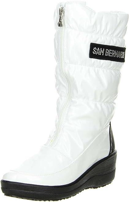 San Bernardo Damen Winterstiefel Snowboots Lackoptik weiß