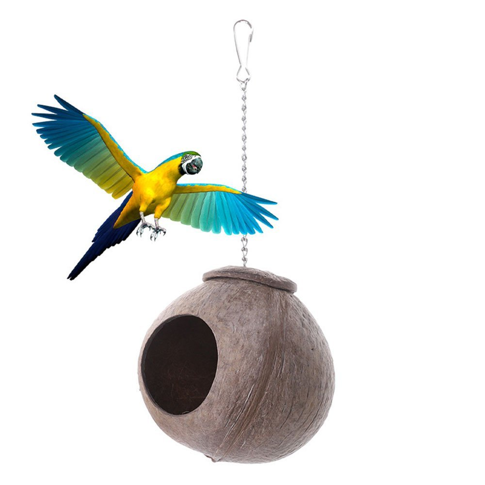 XPangle Natural Coconut Shell Bird Nest House Hut for Pet Parrot Budgies Parakeet Cockatiels Conure Canary Finch Pigeon Cage Hamster Rat Gerbil Mice Cage Seed Feeder Toy Nesting Box