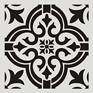 FOUR-C Floral Painting Stencils for Floor Wall Tile Fabric Furniture Wood Burning Art & Craft Supplies Mandala Template-Reusable (A4-1212 in)