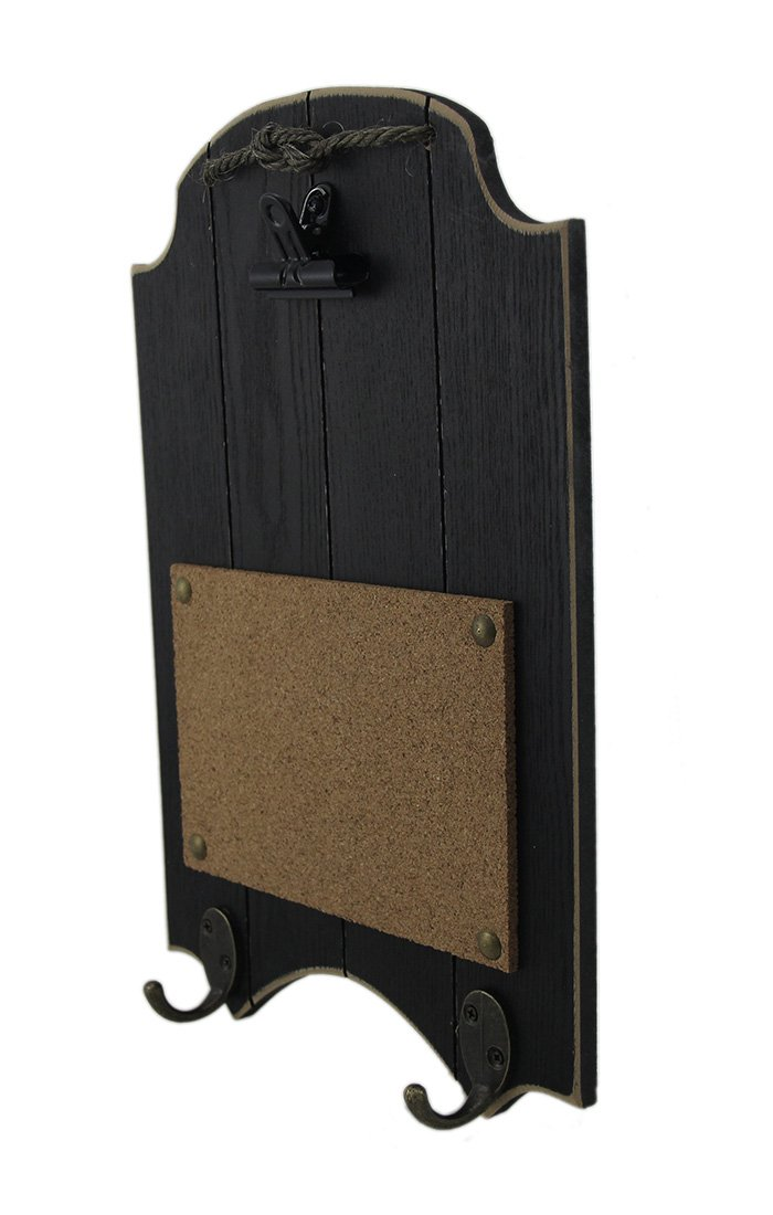 Wood Chalkboards Black & Brown Rustic Memo Board 2 Piece Wall Hook Hangings 9.5 X 14.75 X 2 Inches Multicolored by Zeckos (Image #1)