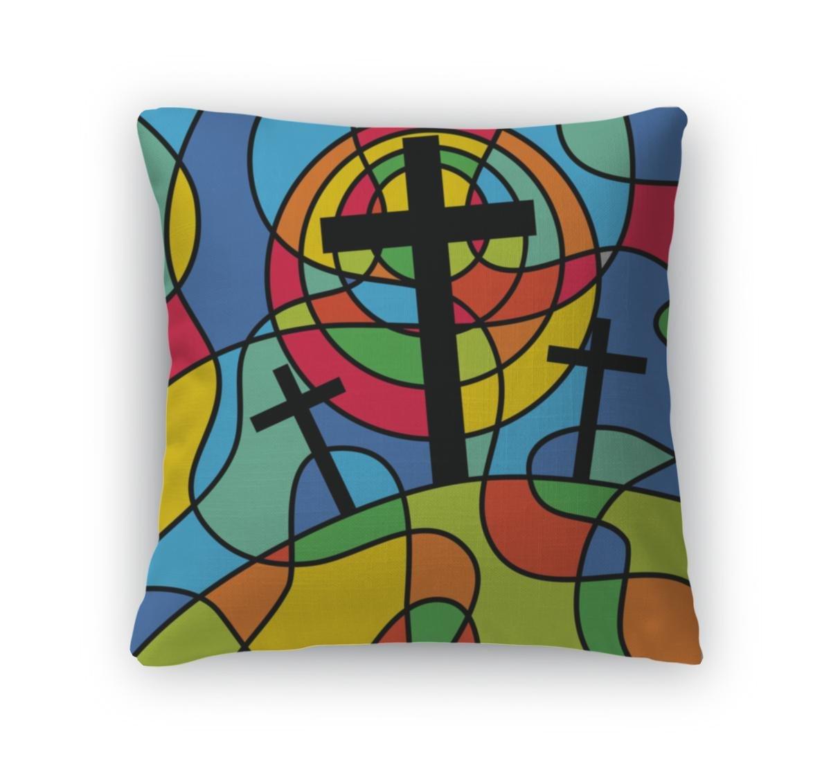 Gear New Throw Pillow Accent Decor, Christian Calvary Cross Scene, 20'' Cover & Insert, 4413052GN