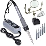 Tuloka Electric ESD Soldering Iron Station Kit Helping Hand Magnifier with Soldering Holder Stand, 5 Extra Tips, ON-OFF Switch and Temperature Adjustable Module