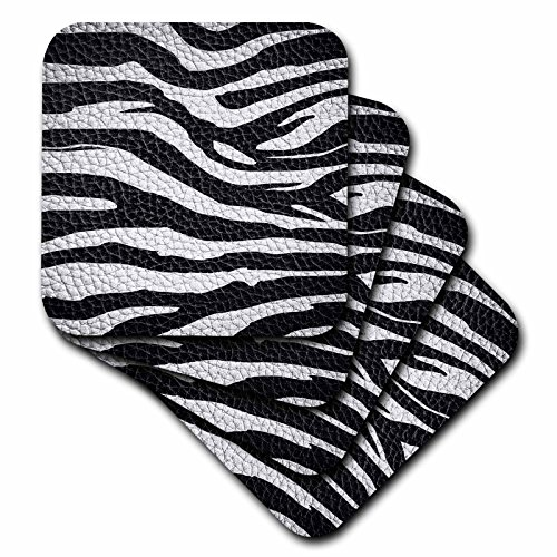3dRose CST_173295_1 Wild Africa Two Tone Leather Look African Zebra Pattern Safari Animal Print Soft Coaster (Set of 4) by 3dRose