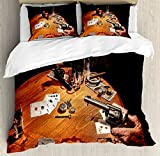 Western Queen Size Duvet Cover Set by Ambesonne, Gambler Holding a Revolver Gun Poker Cards Table Drinks Cigars Dark Saloon, Decorative 3 Piece Bedding Set with 2 Pillow Shams, Orange Brown Black