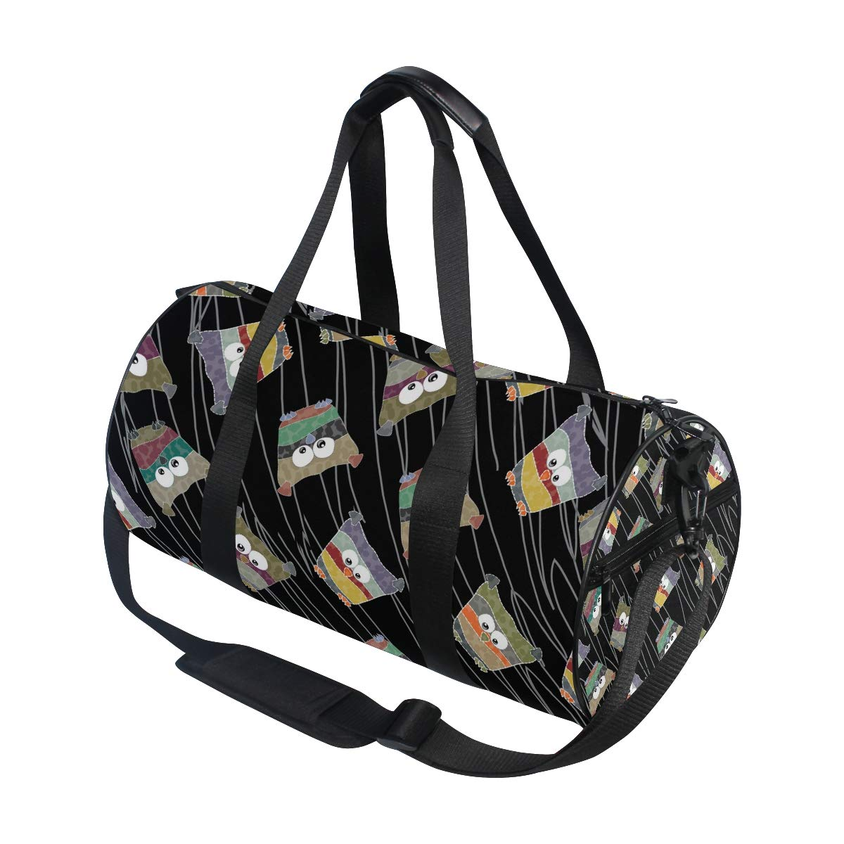 WIHVE Gym Duffel Bag Abstract Colored Owls Lines Sports Lightweight Canvas Travel Luggage Bag