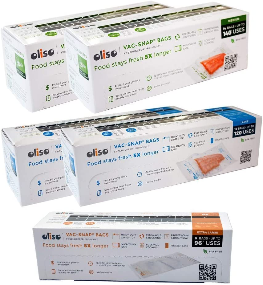 Oliso Pro VAC-SNAP Bags for Oliso Vacuum Sealers (28 Medium 1 Quart Bags, 20 Large 1 Gallon Bags, 6 Jumbo 2 Gallon Bags)