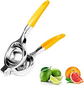 ZONGOOL Lemon Lime Squeezer & Manual Citrus Press Juicer, Quality Stainless Steel Fruit Juicer with Silicone Handles (Yellow)