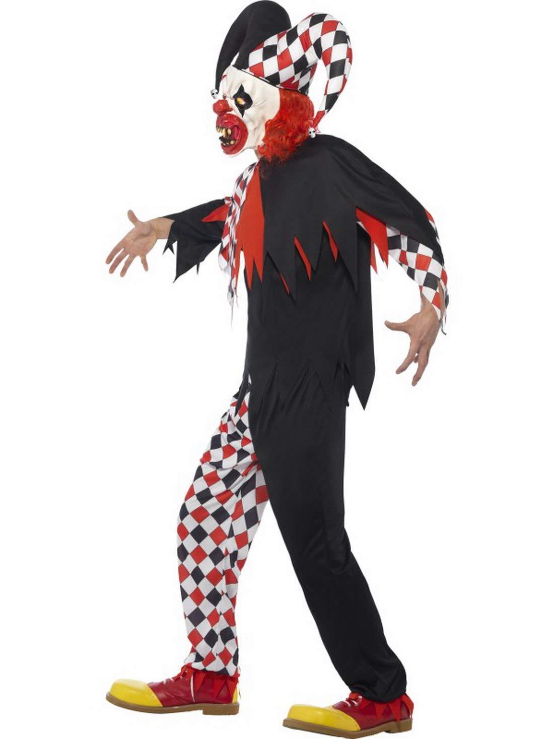 Luxuspiraten Herren - Herren Luxuspiraten Männer Kostüm böser Harlekin Hofnarr mit Hose Oberteil Maske und Hut, Creepy Harlequin Jester Clown, perfekt für Halloween Karneval und Fasching, M, Schwarz 58193f