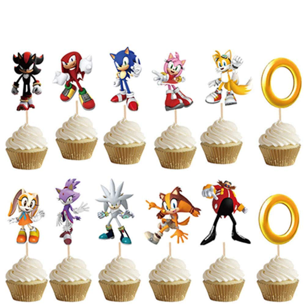 48 Pack Sonic The Hedgehog Cake Topper Sonic The Hedgehog Happy