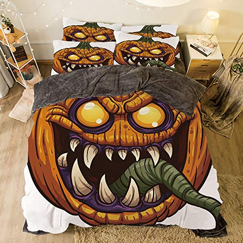 iPrint Comfortable Bed Sheet Set with Bedding Pillow Case Cover for Bed Width 6.6ft Pattern by,Halloween,Scary Pumpkin Monster Evil Character with Fangs Aggressive Cartoon,Purple Orange Dark Green for $<!--$138.88-->
