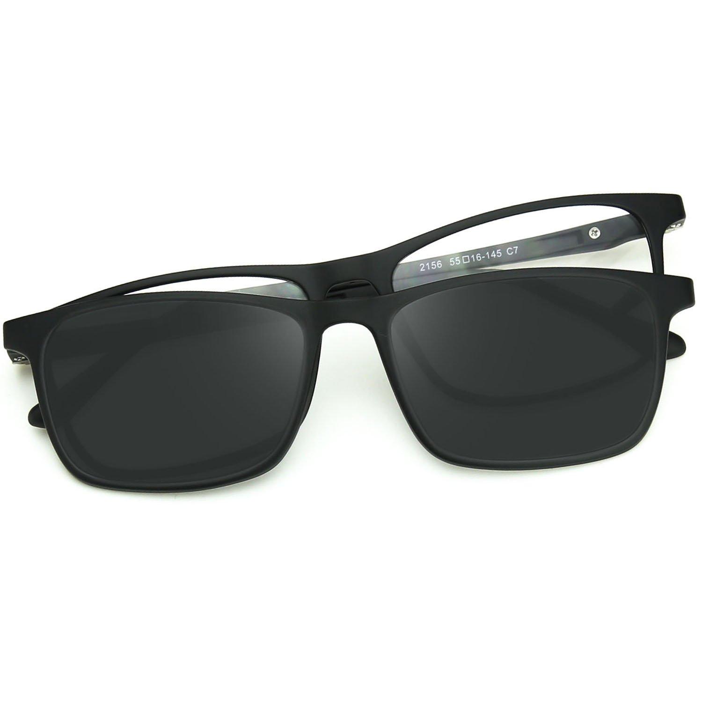 ZENOTTIC Mens UV Polarized Sunglasses Magnetic Clip-on+ULTEM RX-able Frames