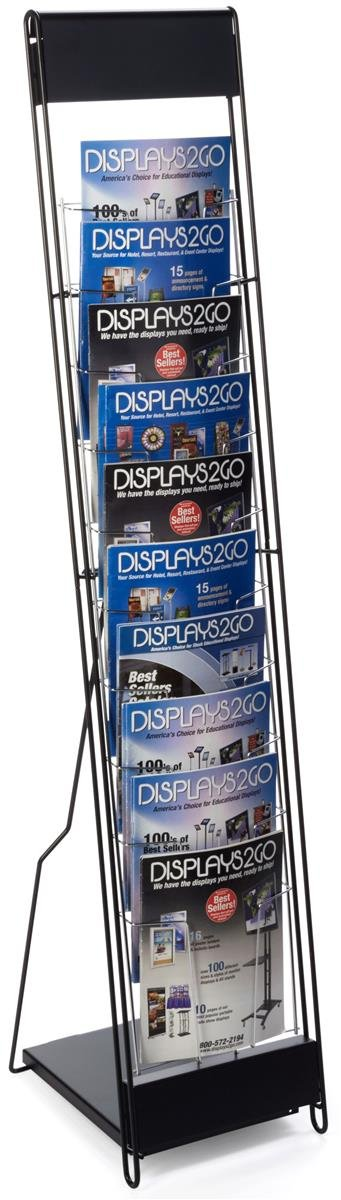 Displays2go Portable Magazine Rack with 10 Pockets for 8.5 x 11 Inches Catalogs, 54H-Inch Floor-Standing Literature Display with Tiered Design, Steel Black (NCYBRCHBLK) George Patton Associates