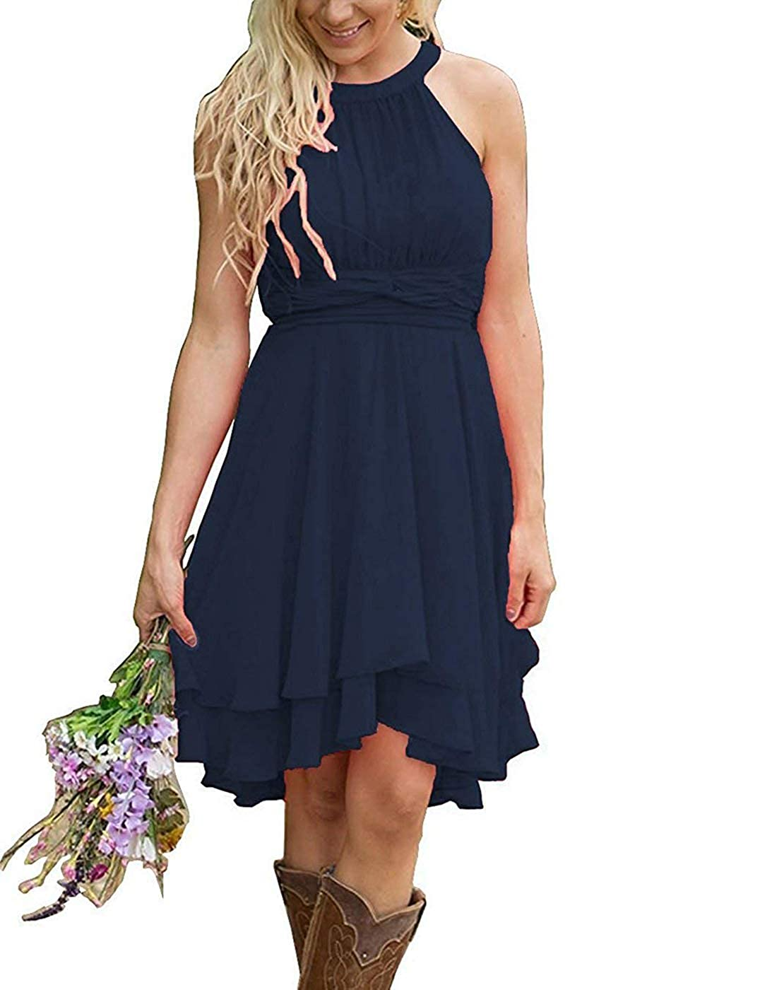Amazon.com  Meledy Women s Halter Hi-Lo Chiffon Ruched Country Bridesmaid Dresses  Formal Prom Dress for Women Navy 06  Clothing f8501640f9