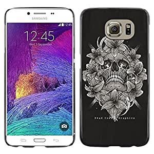 Colorful Printed Hard Protective Back Case Cover Shell Skin for Samsung Galaxy S6 / SM-G920 / SM-G920A / SM-G920T / SM-G920F / SM-G920I ( Black White Skull Floral Death Bones )