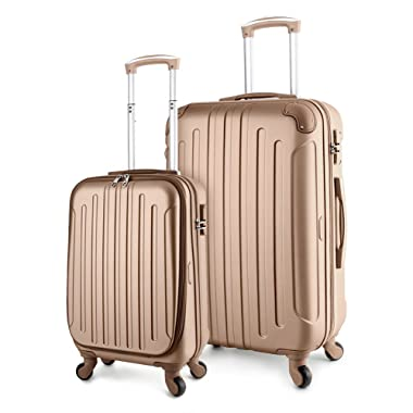 TravelCross Victoria Luggage Lightweight Spinner Set - Champagne, 2 piece (20'' / 28'')