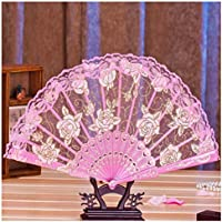 Folding Hand Held Fans, Inkach Multi-color Floral Folding Fan for Dance Wedding Lace Flower Folding Hand Fan (Pink)