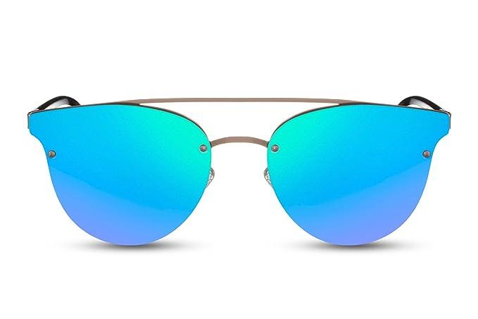 Cheapass Gafas de sol Redondas Negras Verde-Azul Espejadas ...