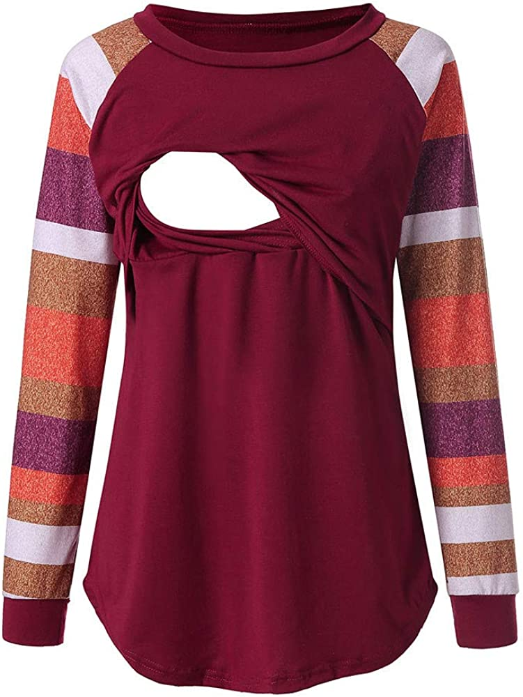 VECDY Lactancia Maternidad para Mujer Camisa Ropa Premam/á Maternidad De Enfermer/ía A Rayas Manga Larga Cuello Redondo Amamantamiento Tops T-Shirt Casual 2019 Oferta