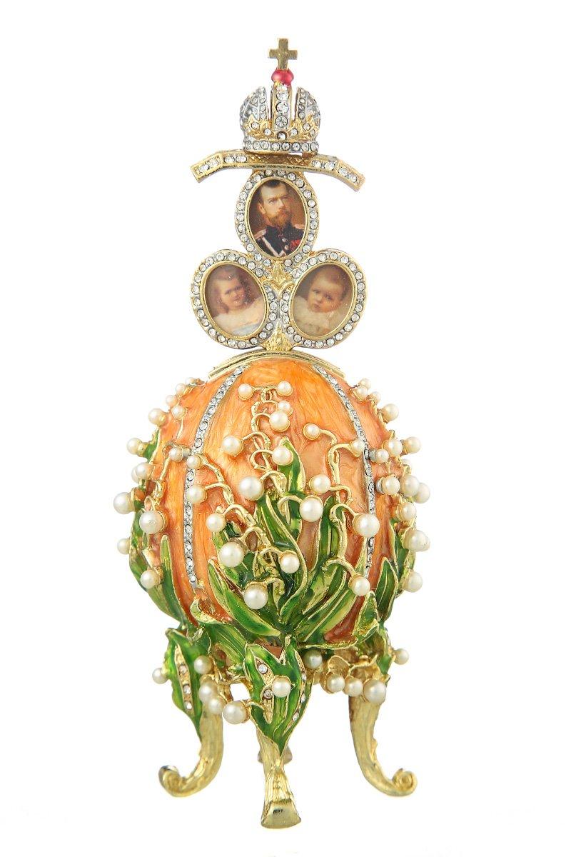 Russische Spieluhr Fabergé-Stil Ei mit russischen Kaiserkrone & Blumen 16 cm Orange