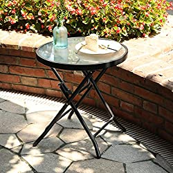 "Captiva Designs 18"" Patio Small Side Table-Little Folding Glass Table, Clear"