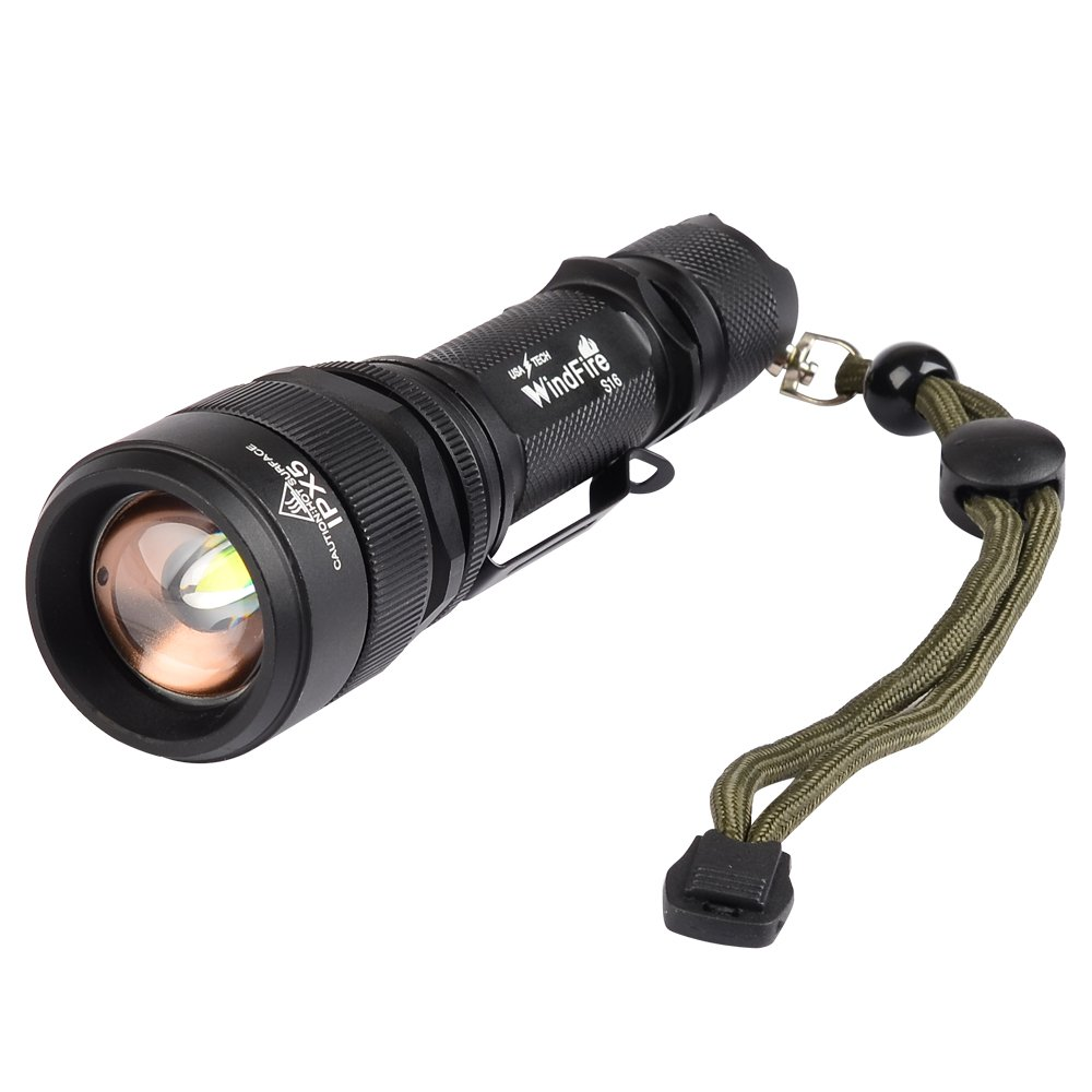 WindFire® S16 2000 Lumen Waterproof Flashlight 5 Modes Cree T6 XM-L U2 L2 Led Rechargeable Lamp Torch with Clip and Lanyard Strip + 18650 Li-ion Rechargeable Battery + Battery Charger + Flashlight AC Charger for Hunting C