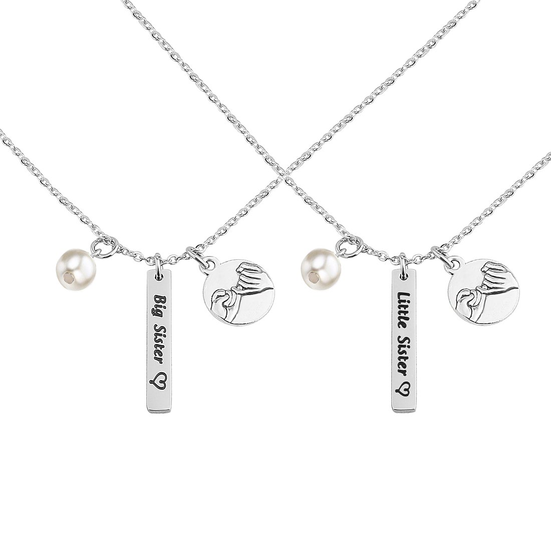 Zuo Bao Sister Necklace Big Sister Little Sister Necklace Set Family Jewelry Gifts for Sisters And Best Friends (Big Sis Little Sis Set)
