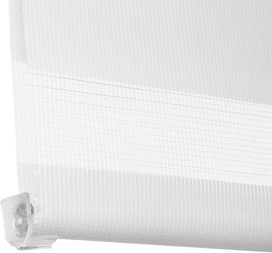 montage sans per/çage gr/âce aux crochets Blanc Jago 40 x 100 cm luminosit/é r/églable gr/âce aux 2 bandes textiles parall/èles TAILLE ET COULEUR AU CHOIX Store enrouleur