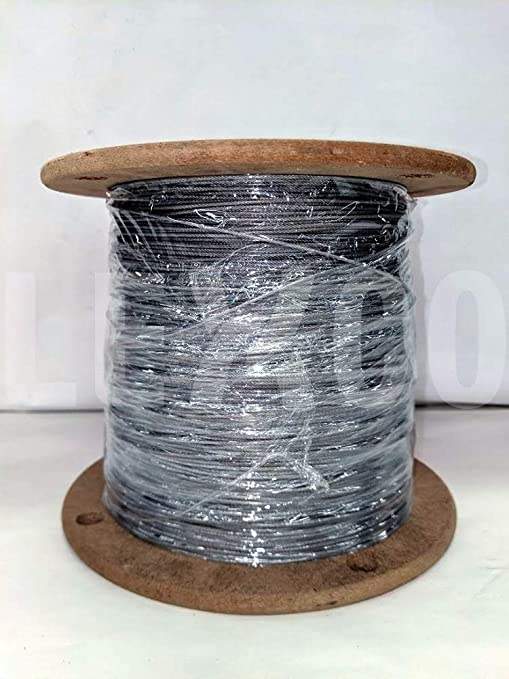 500 /& 1000 ft T316 7x7 3//16 Stainless Steel Cable Wire Rope 100 250 250 ft Reel