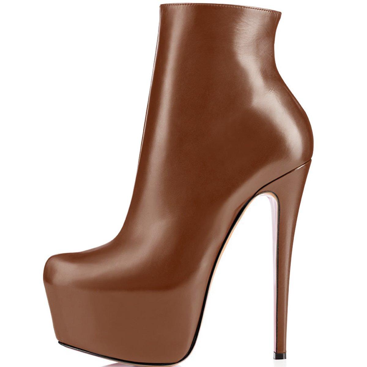ELASHE Ankle Boots | 15cmTrendige Damen Stiefeletten | Plateau Stiefel mit Absatz40 EU|Braun