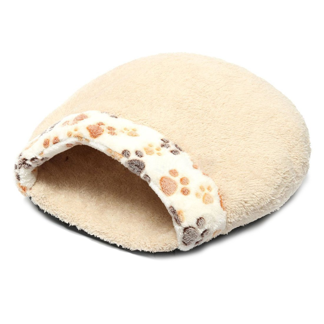 SODIAL(R) Pet Dog Cat Kitten Puppy Soft Plush Bed Warm Cave House Mat Slippers Snug creamy-white S durable modeling