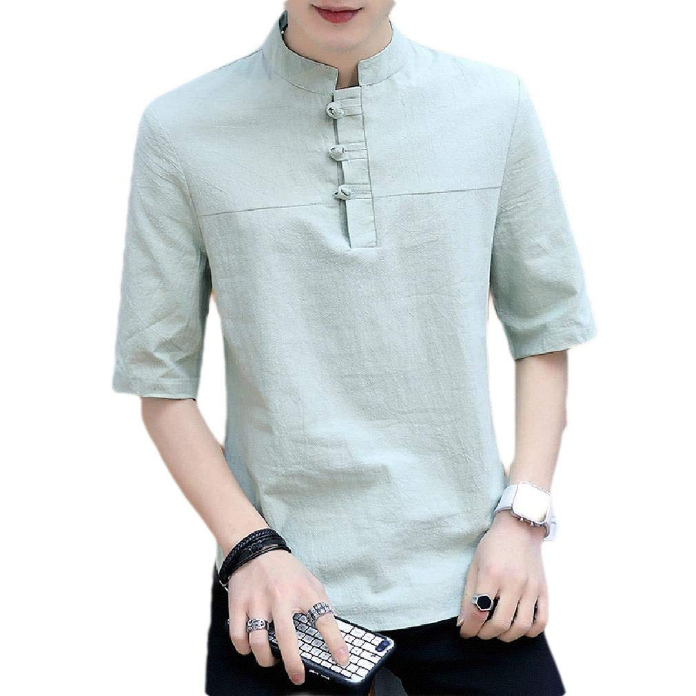 Coolred-Men Over Sized Solid Crewneck Chinese Style Retro T Shirt Tops