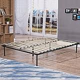 BestMassage Bed Frame Metal Platform Bed Frame Steel Wood Slat Bed Black Queen Size Mattress Foundation