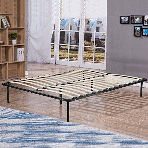 BestMassage Wooden Slat Metal Bed Frame Wood Platform Bedroom Mattress Foundation Queen Size